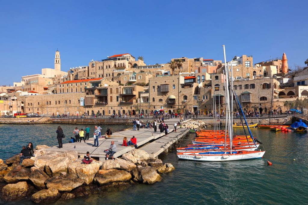 Jaffa TEL AVIV - YAFO, ISRAEL -Panoramic view of Old Yafo and ancient port - NES mobile
