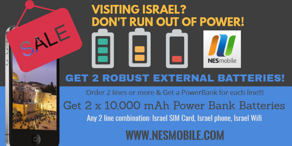 Get 2 power banks with 2 Israel sim cards - NES Mobile